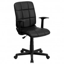 Flash Furniture GO-1691-1-BK-A-GG Black Mid-Back Quilted Vinyl Task Chair with Nylon Arms