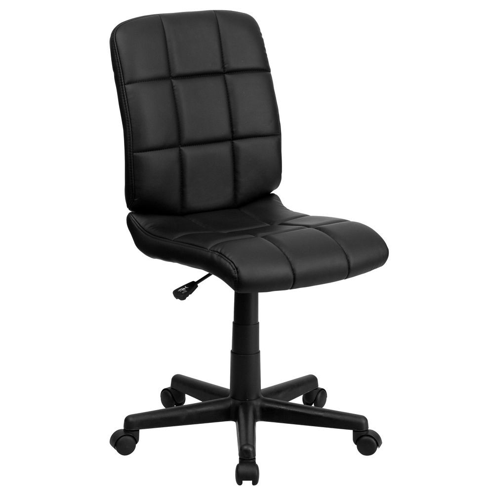 Flash Furniture GO-1691-1-BK-GG Black Mid-Back Quilted Vinyl Task Chair