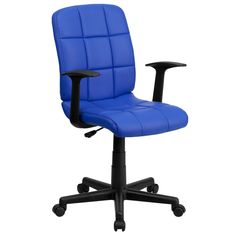 Flash Furniture GO-1691-1-BLUE-A-GG Blue Mid-Back Quilted Vinyl Task Chair with Nylon Arms