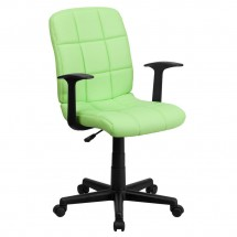 Flash Furniture GO-1691-1-GREEN-A-GG Green Mid-Back Quilted Vinyl Task Chair with Nylon Arms