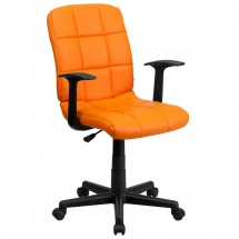 Flash Furniture GO-1691-1-ORG-A-GG Orange Mid-Back Quilted Vinyl Task Chair with Nylon Arms