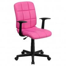 Flash Furniture GO-1691-1-PINK-A-GG Pink Mid-Back Quilted Vinyl Task Chair with Nylon Arms