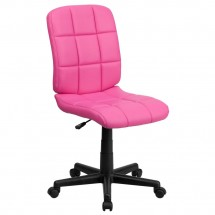 Flash Furniture GO-1691-1-PINK-GG Pink Mid-Back Quilted Vinyl Task Chair