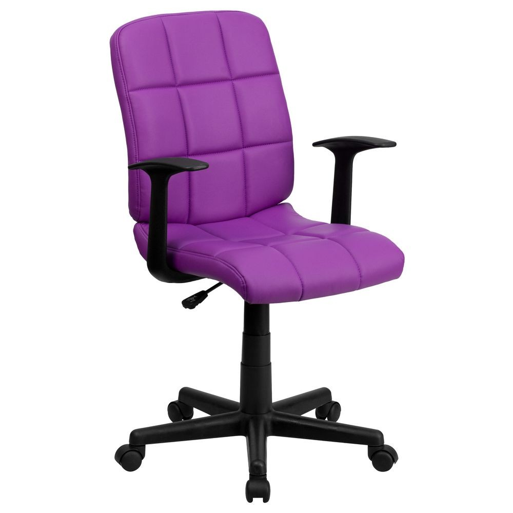 Flash Furniture GO-1691-1-PUR-A-GG Purple Mid-Back Quilted Vinyl Task Chair with Nylon Arms