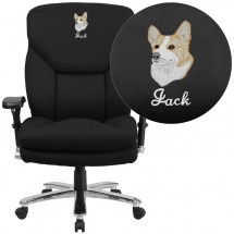 Flash Furniture GO-2085-GG HERCULES Series 24/7 Intensive Use, Multi-Shift, Big & Tall 400 lb. Capacity Black Fabric Executive Swivel Chair with Lumbar Support Knob