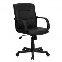 Flash Furniture GO-228S-BK-LEA-GG Mid-Back Black Leather Office Chair with Nylon Arms