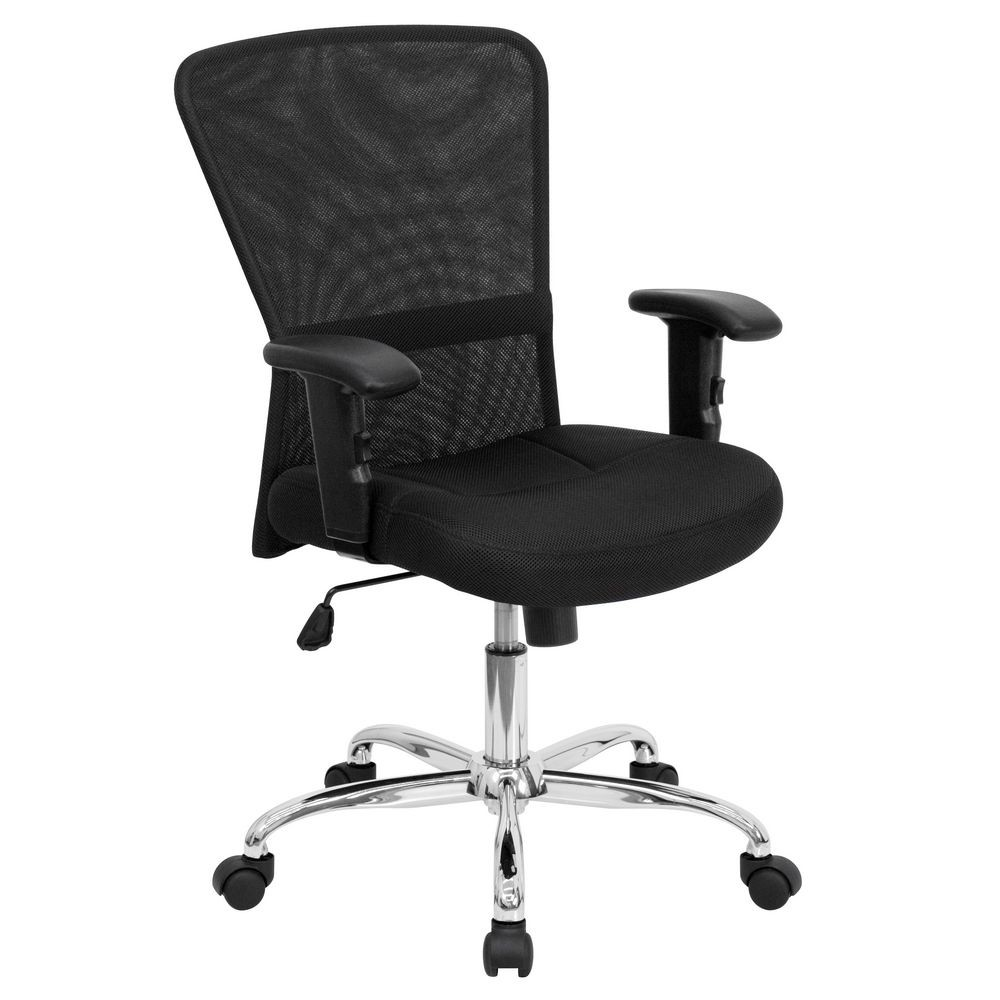 Flash Furniture GO-5307B-GG Mid-Back Black Mesh Contemporary Computer Chair