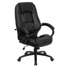 Flash Furniture GO-710-BK-GG High Back Black Leather Executive Office Chair
