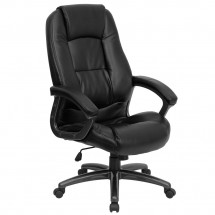 Flash Furniture GO-7145-BK-GG High Back Black Leather Executive Office Chair