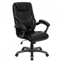 Flash Furniture GO-724H-BK-LEA-GG High Back Black Leather Overstuffed Executive Office Chair
