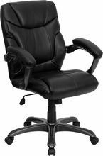Flash Furniture GO-724M-MID-BK-LEA-GG Mid-Back Black Leather Overstuffed Office Chair