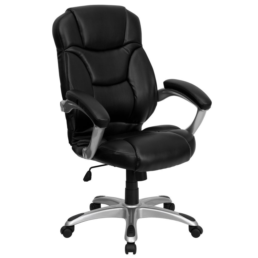 Flash Furniture GO-725-BK-LEA-GG High Back Black Leather Contemporary Office Chair