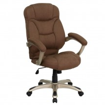Flash Furniture GO-725-BN-GG High Back Brown Microfiber Upholstered Contemporary Office Chair