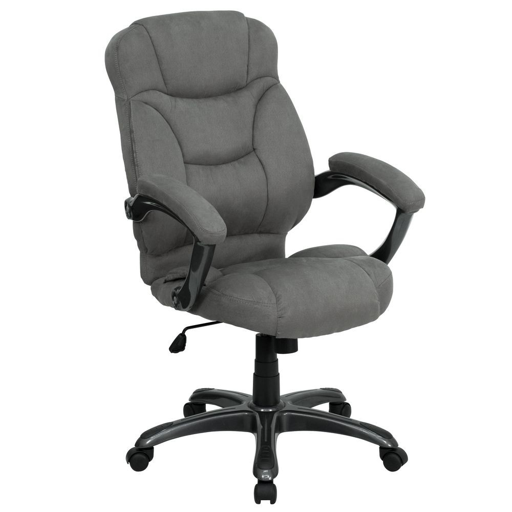 Flash Furniture GO-725-GY-GG High Back Gray Microfiber Upholstered Contemporary Office Chair