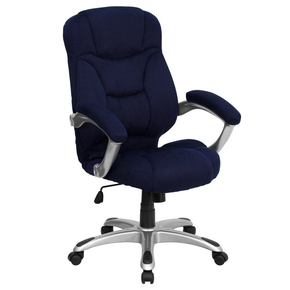 Flash Furniture GO-725-NVY-GG High Back Navy Blue Microfiber Upholstered Contemporary Office Chair