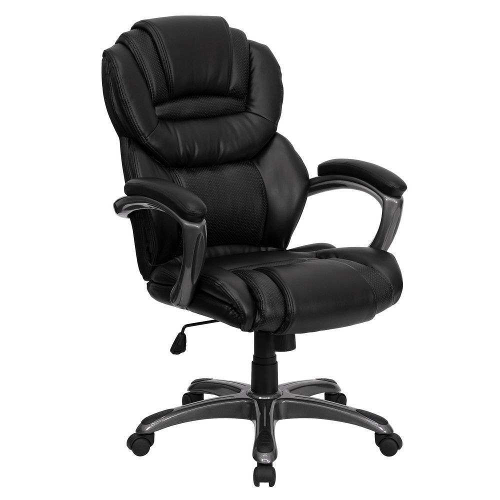 Flash Furniture GO-901-BK-GG High Back Black Leather Executive Office Chair with Leather Padded Loop Arms