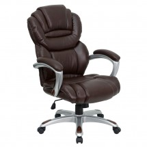 Flash Furniture GO-901-BN-GG High Back Brown Leather Executive Office Chair with Leather Padded Loop Arms