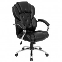 Flash Furniture GO-908A-BK-GG High Back Transitional Style Black Leather Executive Office Chair