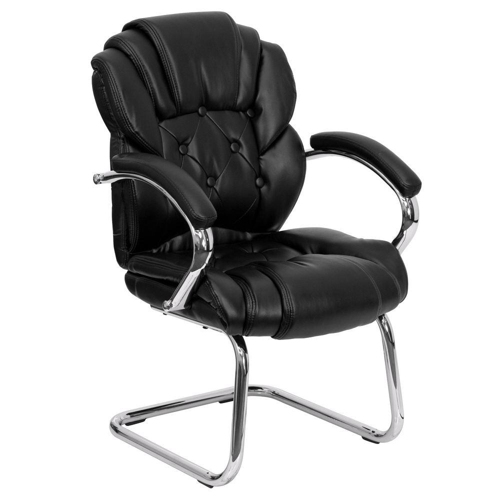 Flash Furniture GO-908V-BK-SIDE-GG Black Leather Transitional Side Chair with Padded Arms and Sled Base