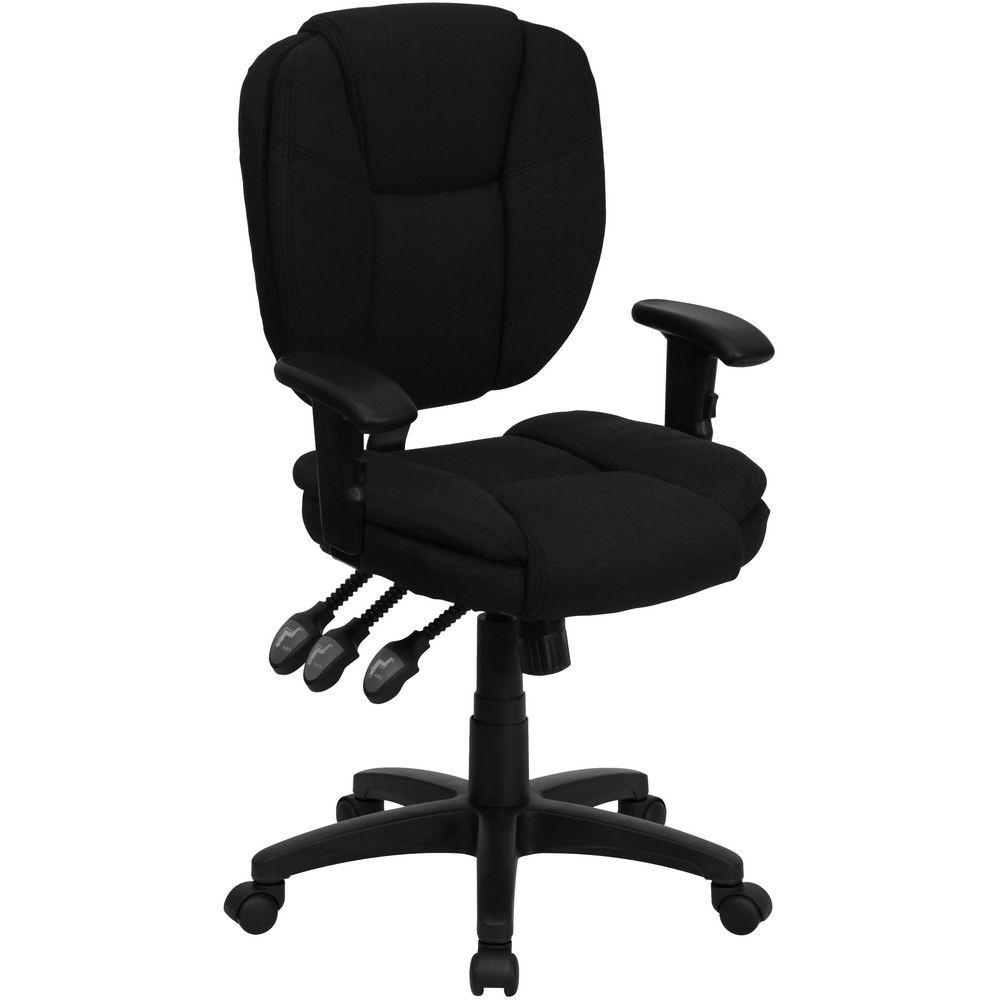 Flash Furniture GO-930F-BK-ARMS-GG Mid-Back Black Fabric Multi-Functional Ergonomic Task Chair with Arms