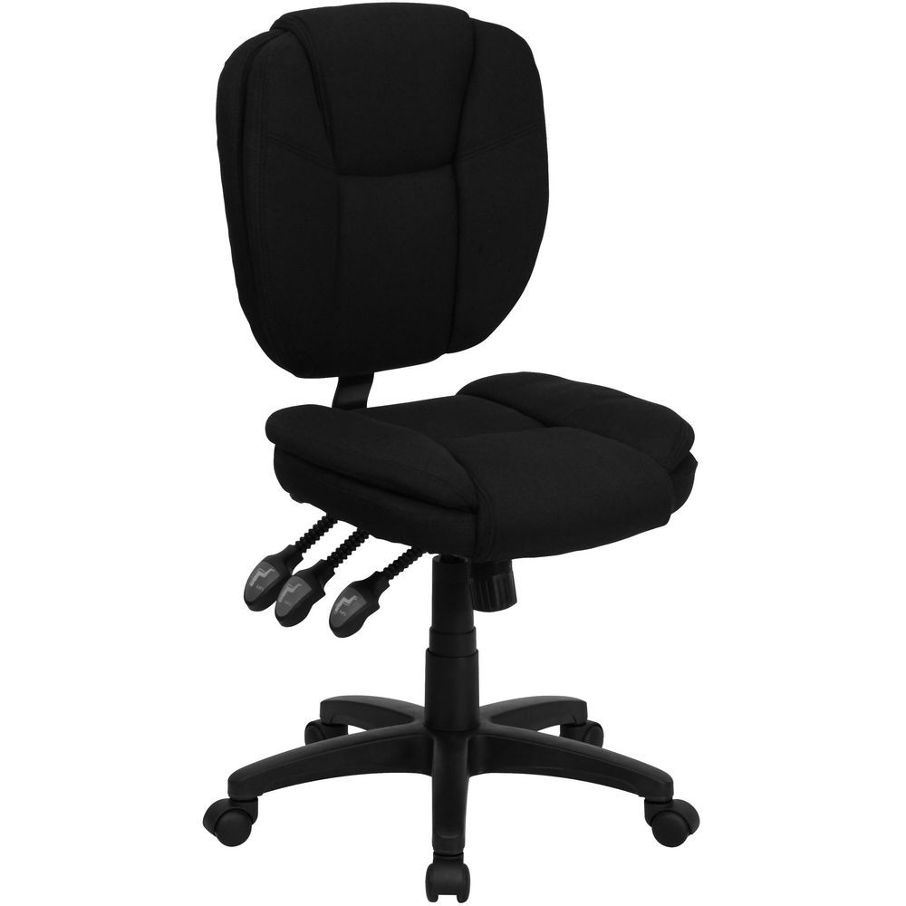 Flash Furniture GO-930F-BK-GG Mid-Back Black Fabric Multi-Functional Ergonomic Task Chair