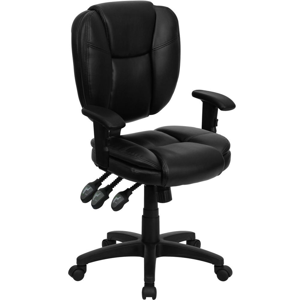 Flash Furniture GO-930F-BK-LEA-ARMS-GG Mid-Back Black Leather Multi-Functional Ergonomic Task Chair with Arms
