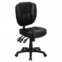 Flash Furniture GO-930F-BK-LEA-GG Mid-Back Black Leather Multi-Functional Ergonomic Task Chair