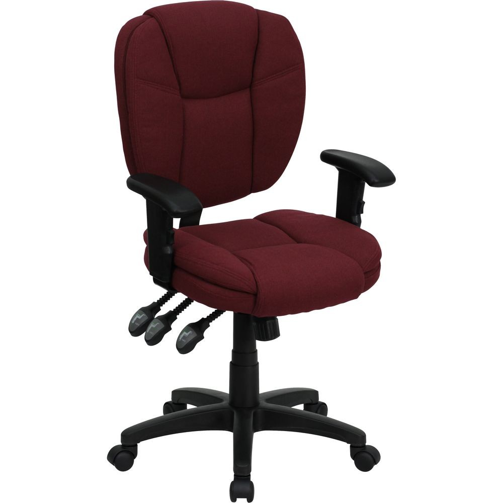 Flash Furniture GO-930F-BY-ARMS-GG Mid-Back Burgundy Fabric Multi-Functional Ergonomic Task Chair with Arms