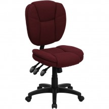 Flash Furniture GO-930F-BY-GG Mid-Back Burgundy Fabric Multi-Functional Ergonomic Task Chair