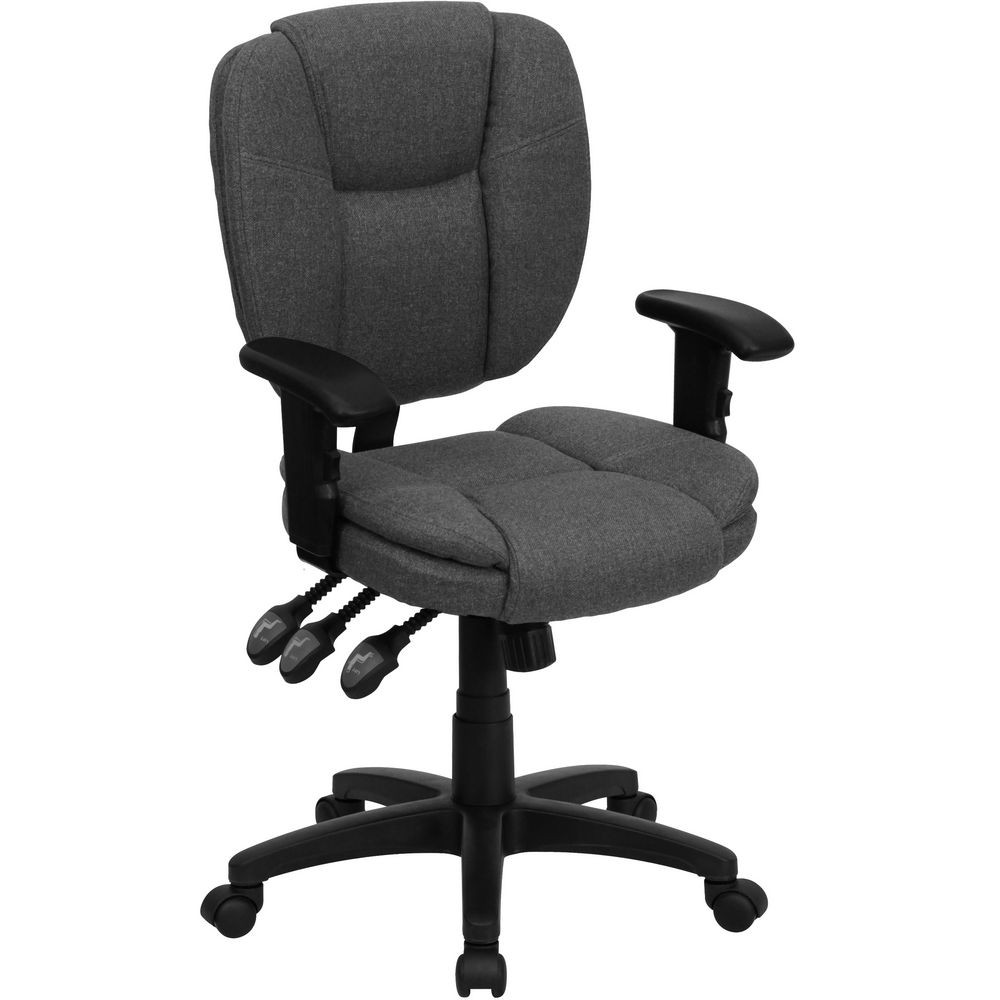 Flash Furniture GO-930F-GY-ARMS-GG Mid-Back Gray Fabric Multi-Functional Ergonomic Task Chair with Arms