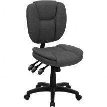 Flash Furniture GO-930F-GY-GG Mid-Back Gray Fabric Multi-Functional Ergonomic Task Chair