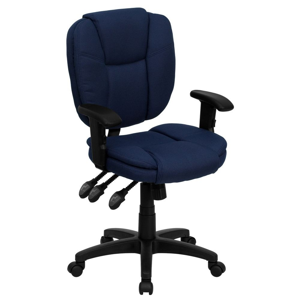 Flash Furniture GO-930F-NVY-ARMS-GG Mid-Back Navy Blue Fabric Multi-Functional Ergonomic Task Chair with Arms