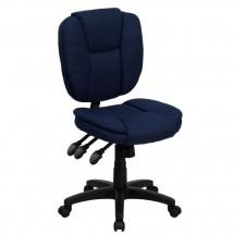 Flash Furniture GO-930F-NVY-GG Mid-Back Navy Blue Fabric Multi-Functional Ergonomic Task Chair