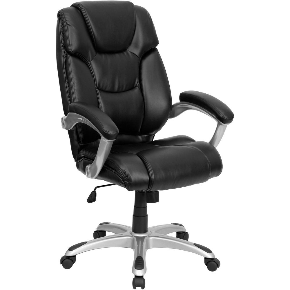 Flash Furniture GO-931H-BK-GG High Back Black Leather Executive Office Chair
