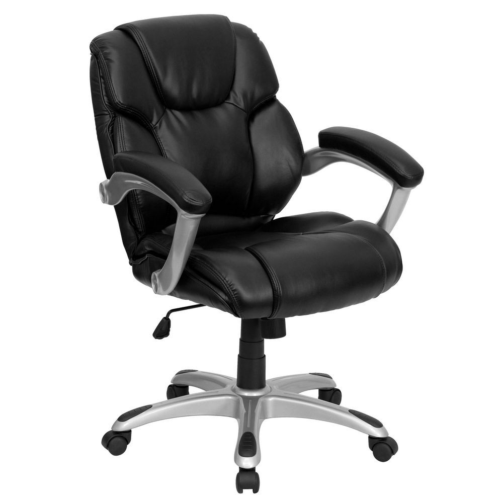 Flash Furniture GO-931H-MID-BK-GG Mid-Back Black Leather Office Task Chair