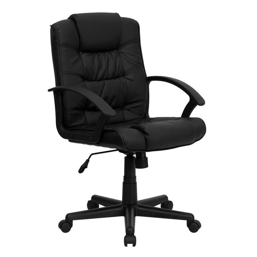 Flash Furniture GO-937M-BK-LEA-GG Mid-Back Black Leather Office Chair