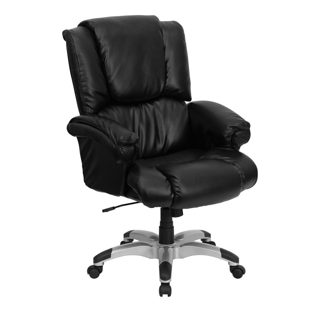 Flash Furniture GO-958-BK-GG High Back Black Leather Overstuffed Executive Office Chair