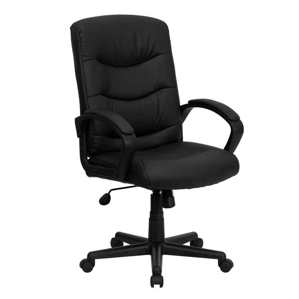Flash Furniture GO-977-1-BK-LEA-GG Mid-Back Black Leather Office Chair