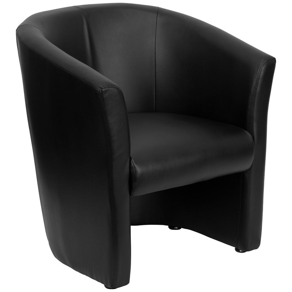 Flash Furniture GO-S-01-BK-QTR-GG Black Leather Barrel-Shaped Guest Chair