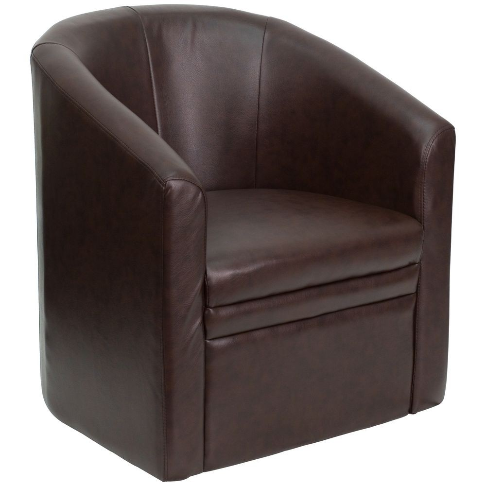 Flash Furniture GO-S-03-BN-FULL-GG Brown Leather Barrel-Shaped Guest Chair