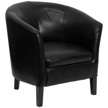 Flash Furniture GO-S-11-BK-BARREL-GG Black Leather Barrel Shaped Guest Chair