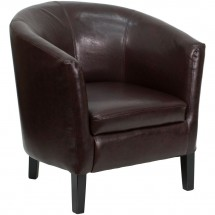 Flash Furniture GO-S-11-BN-BARREL-GG Brown Leather Barrel Shaped Guest Chair