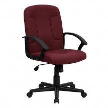 Flash Furniture GO-ST-6-BY-GG Mid-Back Burgundy Fabric Task and Computer Chair with Nylon Arms