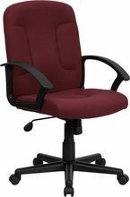 Flash Furniture GO-ST-6-BY-GG Mid-Back Burgundy Fabric Task and Executive Chair with Nylon Arms