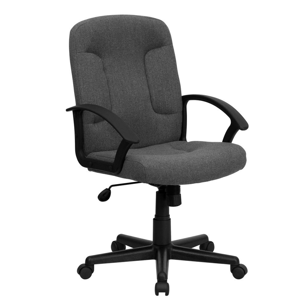 Flash Furniture GO-ST-6-GY-GG Mid-Back Gray Fabric Task and Computer Chair with Nylon Arms