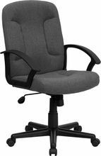 Flash Furniture GO-ST-6-GY-GG Mid-Back Gray Fabric Task and Executive Chair with Nylon Arms