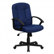 Flash Furniture GO-ST-6-NVY-GG Mid-Back Navy Fabric Task and Computer Chair with Nylon Arms
