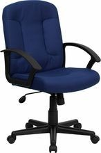 Flash Furniture GO-ST-6-NVY-GG Mid-Back Navy Fabric Task and Executive Chair with Nylon Arms
