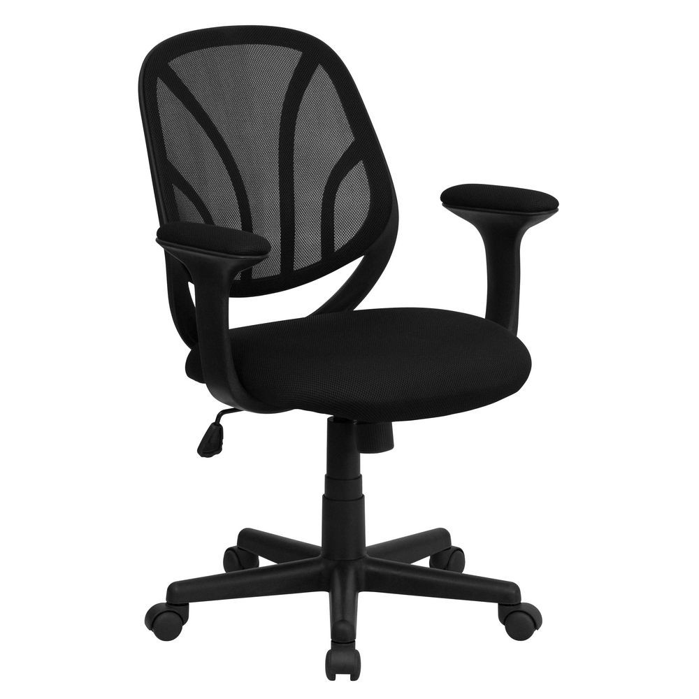 Flash Furniture GO-WY-05-A-GG Y-GO Mid-Back Black Mesh Computer Task Chair with Arms