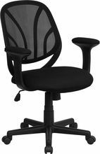 Flash Furniture GO-WY-05-A-GG Y-GO Mid-Back Black Mesh Task Chair with Arms
